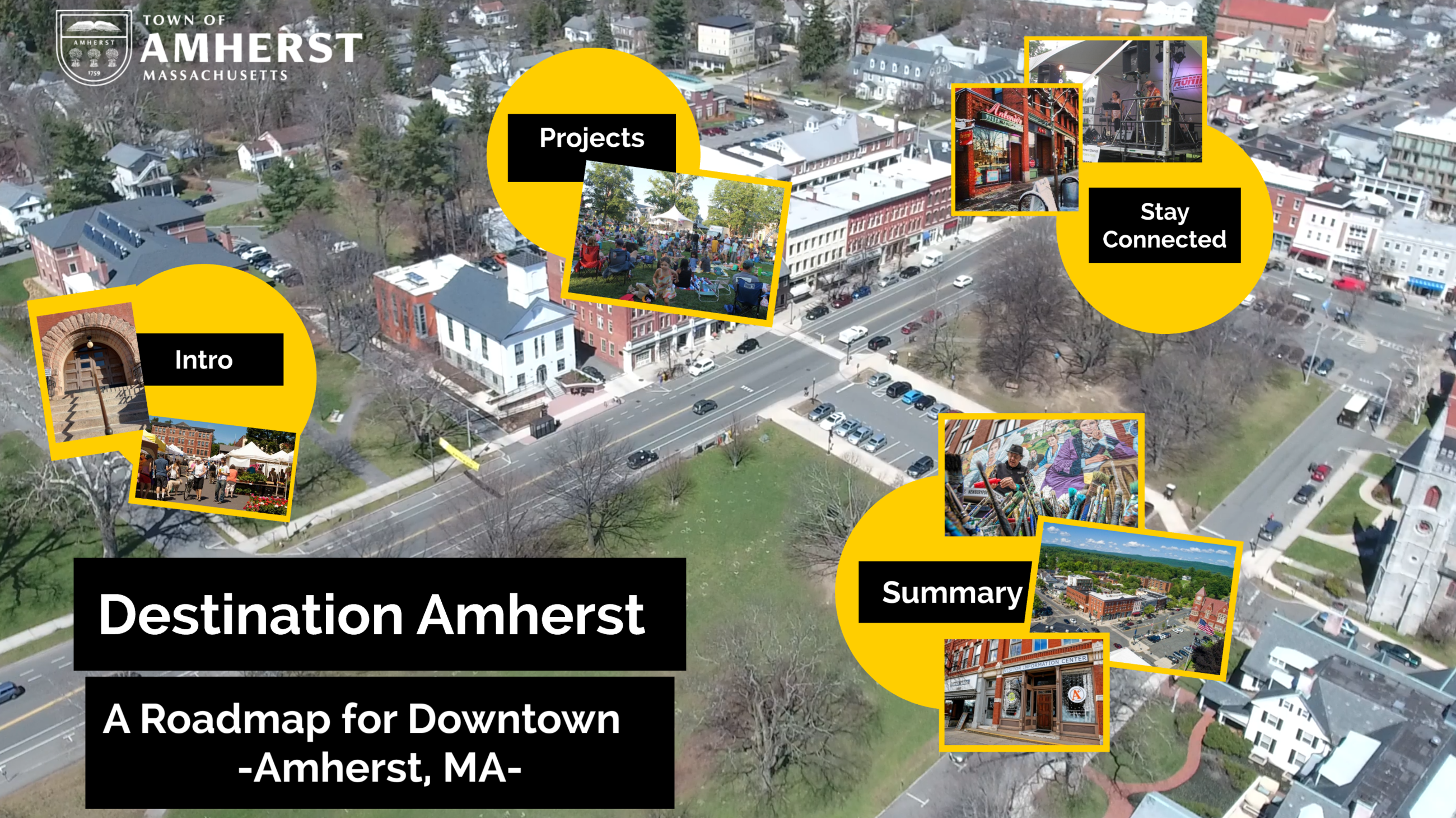 Aerial view of Downtown Amherst with Town Commons